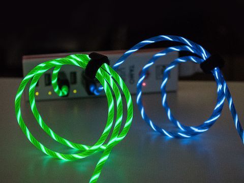 Green, Light, Dog collar, Poi, Collar, Neon, Technology, Electronic device, Font, Leash,