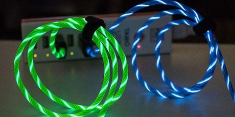 Green, Light, Poi, Rope, Dog collar, Neon, Technology, Leash, Collar, Electronic device,