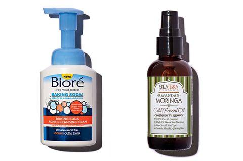 Biore Baking Soda Acne Cleansing Foam and Shea Terra Organics Moringa Oil