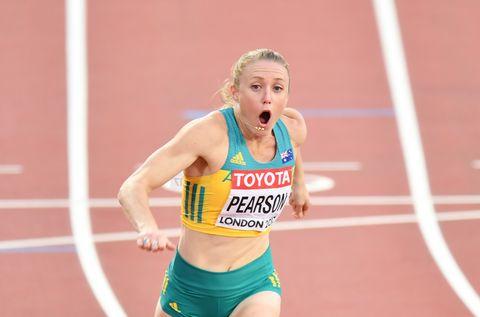 Sally Pearson ganando el Mundial de 2017 en vallas