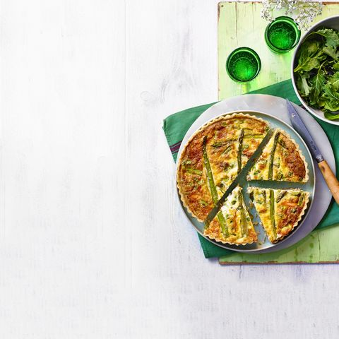 salmon, asparagus and pea quiche