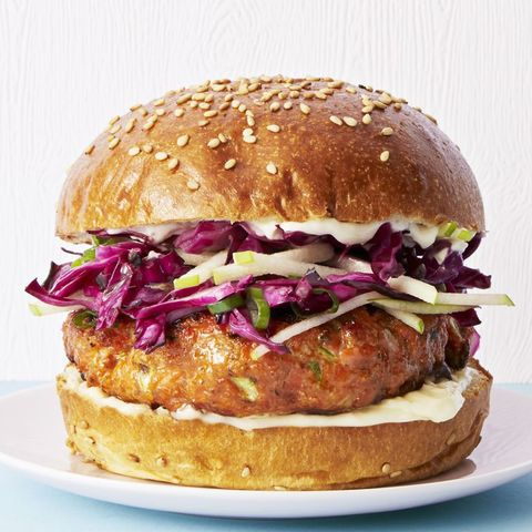 salmon burgers with cabbage apple slaw   good luck foods