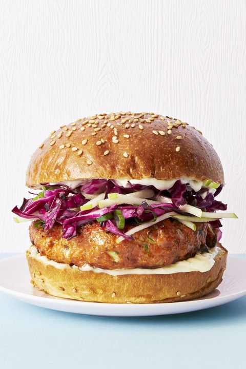 Salmon Burgers with Cabbage Apple Slaw - Good Luck Foods