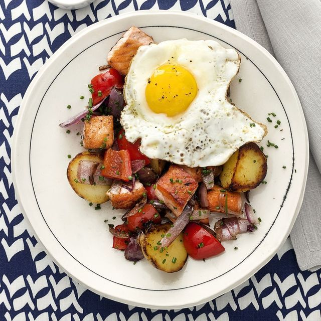 breakfast meal salmon hash with sunny side up eggs recipe