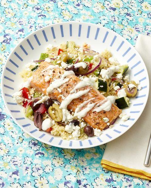 salmon recipes greek couscous bowls