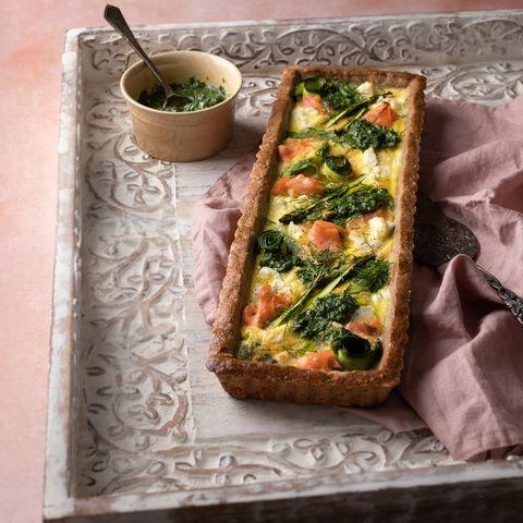 salmon and spring greens tart