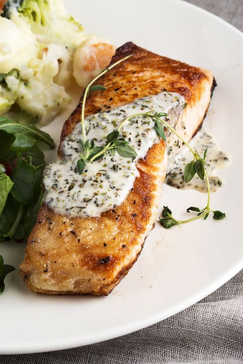 Salmon Steak,Fillet of salmon with sauce,