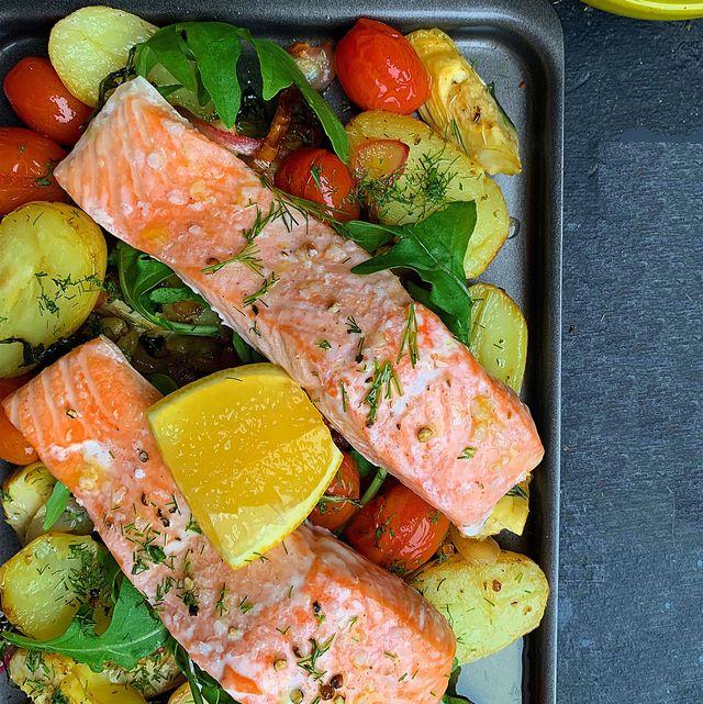 mediterranean salmon traybake   salmon tray bake recipe