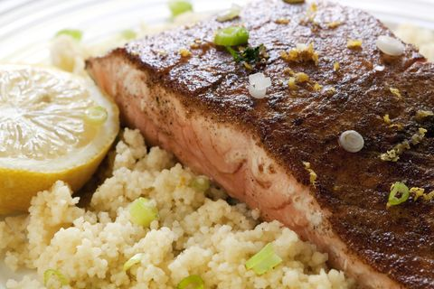 salmon with couscous healthy dinner