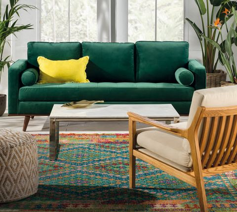Furniture, Coffee table, Couch, Table, studio couch, Living room, Room, Outdoor furniture, Turquoise, Interior design,