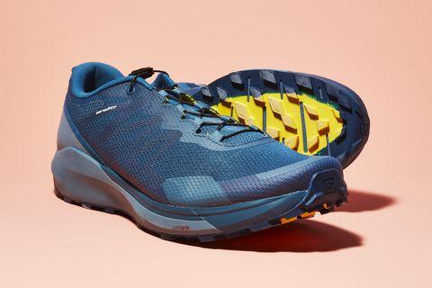 Shoe, Footwear, Outdoor shoe, Running shoe, Blue, Yellow, Walking shoe, Cross training shoe, Athletic shoe, Sneakers,