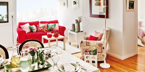 Room, Interior design, Green, Furniture, Red, Table, Living room, Home, Interior design, Wall,