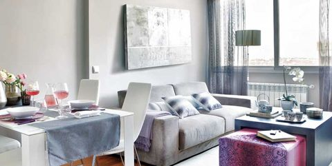 Furniture, Living room, Room, Interior design, Property, Coffee table, Table, Building, Floor, Purple,