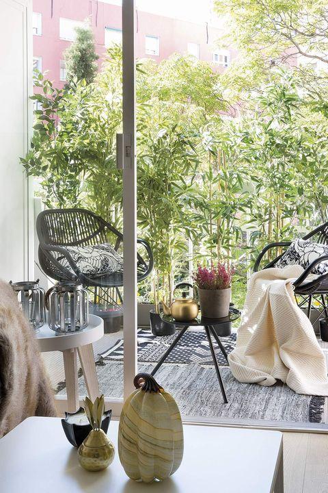 salón abierto a la terraza