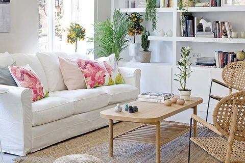 Salón blanco con plantas y complementos