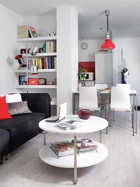 Living room, Furniture, Room, White, Interior design, Coffee table, Property, Red, Shelf, Table,