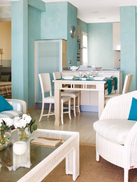 Room, Furniture, Turquoise, Interior design, Property, Table, Living room, Building, Floor, Dining room,