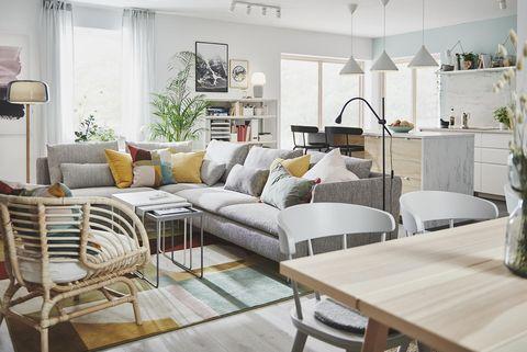 espacios integrados salón con cocina abierta