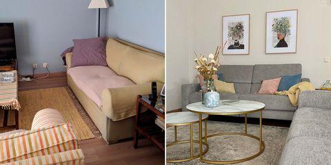 un salón decorado en gris u dorado antes y después