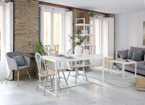 salón comedor de estilo moderno en blanco y gris