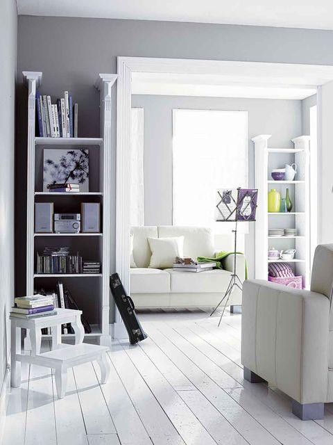 Furniture, Shelf, Room, White, Living room, Interior design, Shelving, Table, Floor, Purple,