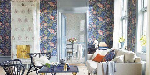 Living room, Room, Interior design, Furniture, Blue, Property, Curtain, Wallpaper, Wall, Floor,