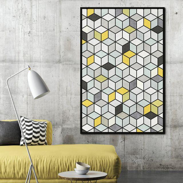salón moderno en gris y amarillo