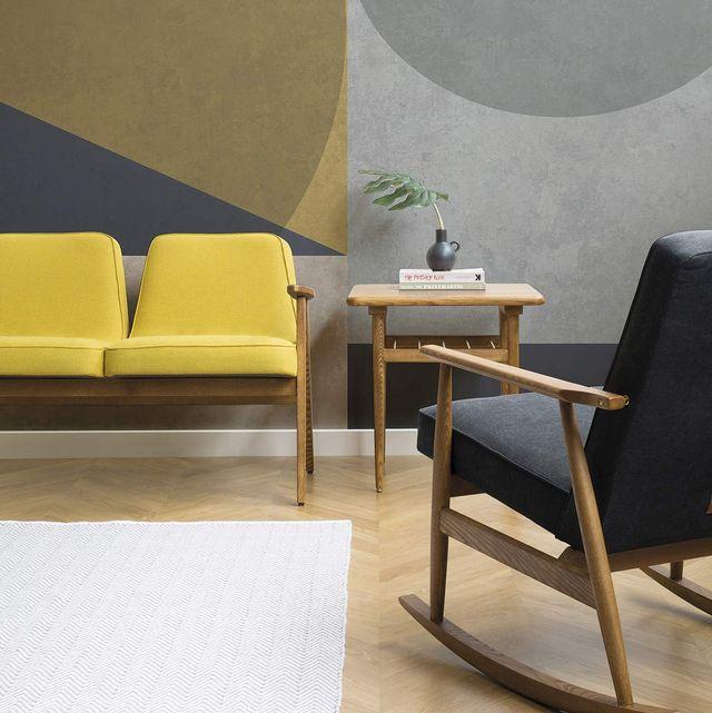 salón decorado en gris y amarillo