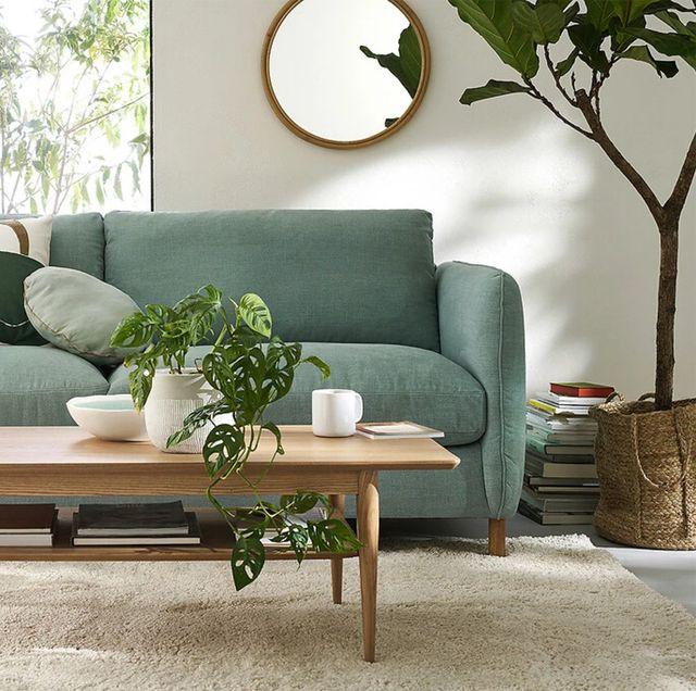 salón decorado en tonos verdes