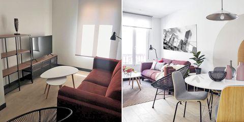salón moderno antes y después