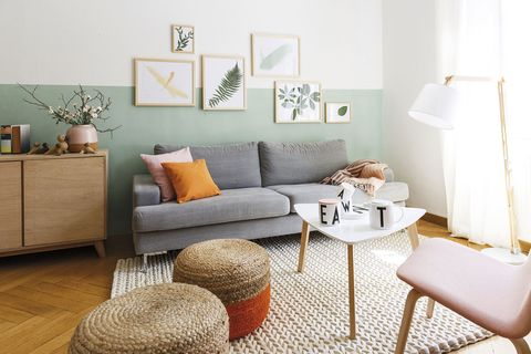 decorar con cuadros salón moderno con cuadros de motivos vegetales