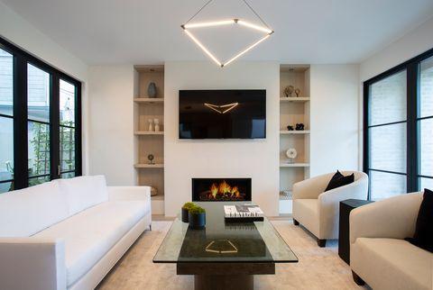 salón de diseño contemporáneo decorado en tonos neutros