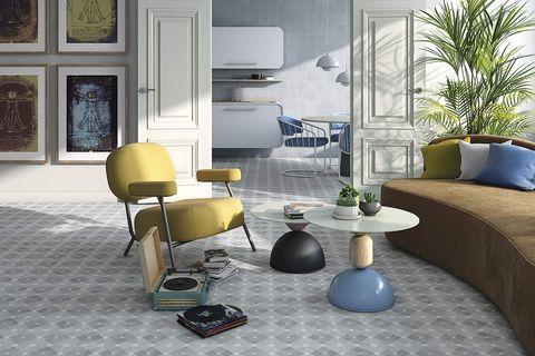salón estilo años 60 porcelánicos rectificados