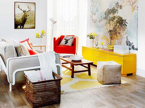 furniture, room, living room, interior design, yellow, orange, table, product, wall, floor,