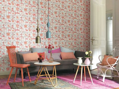 Pink, Furniture, Room, Chair, Interior design, Red, Table, Green, Dining room, Wallpaper,