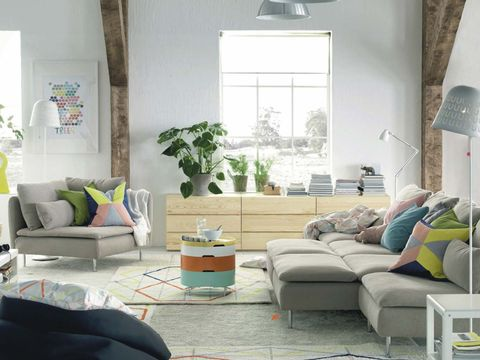 Living room, Room, Furniture, Green, Interior design, Property, Couch, Turquoise, Coffee table, Floor,