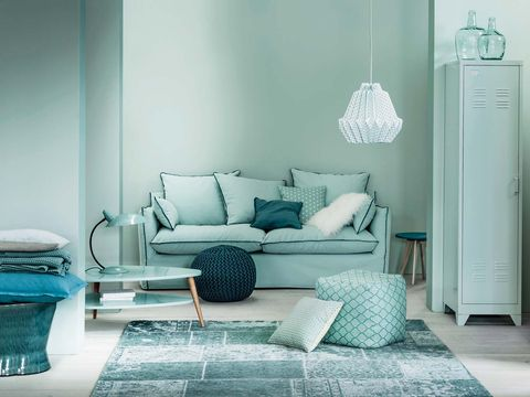 Blue, Furniture, Room, Turquoise, Green, Aqua, Interior design, Living room, Bedroom, Floor,