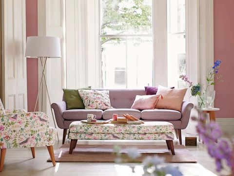 Living room, Furniture, Room, Interior design, Pink, Purple, Couch, Curtain, Home, Table,