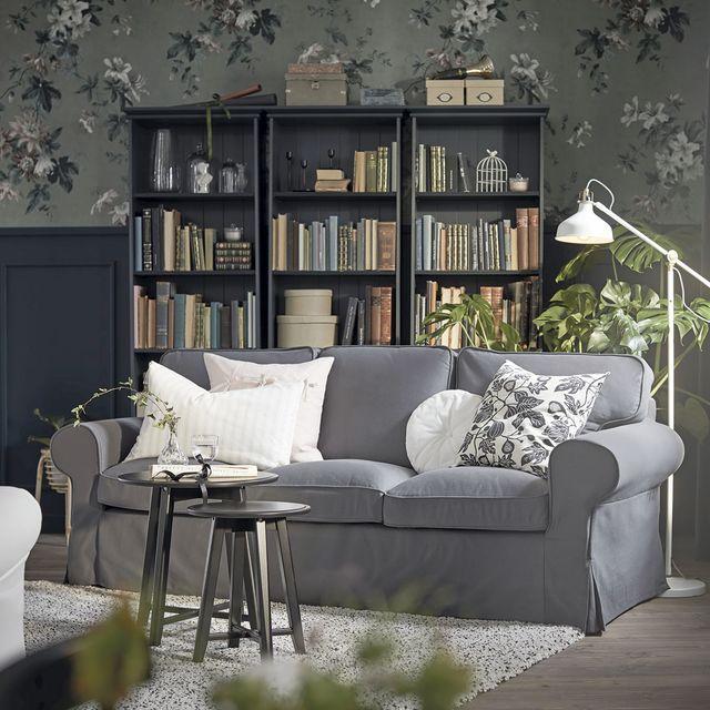 salón decorado en gris