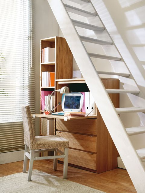 Room, Furniture, Stairs, Shelf, Attic, Interior design, Shelving, Wall, House, Floor,