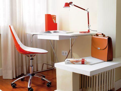 Furniture, Desk, Product, Red, Orange, Table, Interior design, Room, Lighting, Chair,