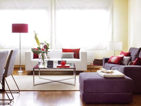 Living room, Furniture, Interior design, Room, Couch, Red, Coffee table, Floor, Property, Table,