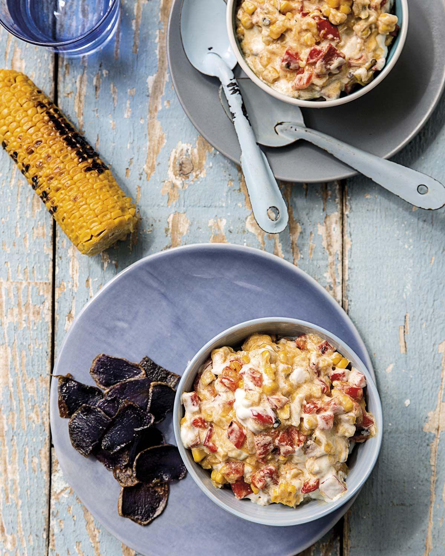 Salsa de maíz con patata morada