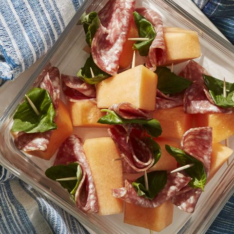 4th of july appetizers - Salami-Wrapped Melon with Basil Recipe