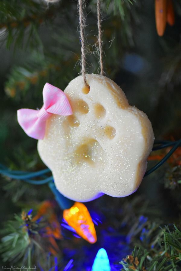 salt dough ornaments paw print