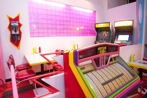 Room, Red, Interior design, Pink, Furniture, Yellow, Purple, Magenta, Design, Building,