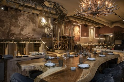 Interior design, Room, Lighting, Restaurant, Table, Building, Furniture, Architecture, Function hall, Chair,