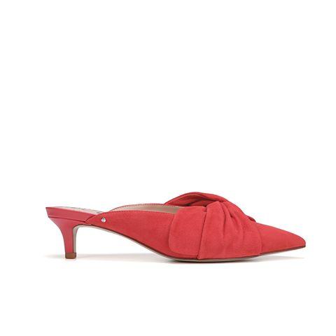 Footwear, Red, Shoe, Slingback, High heels, Sandal, Leather, Court shoe, Basic pump, Magenta,