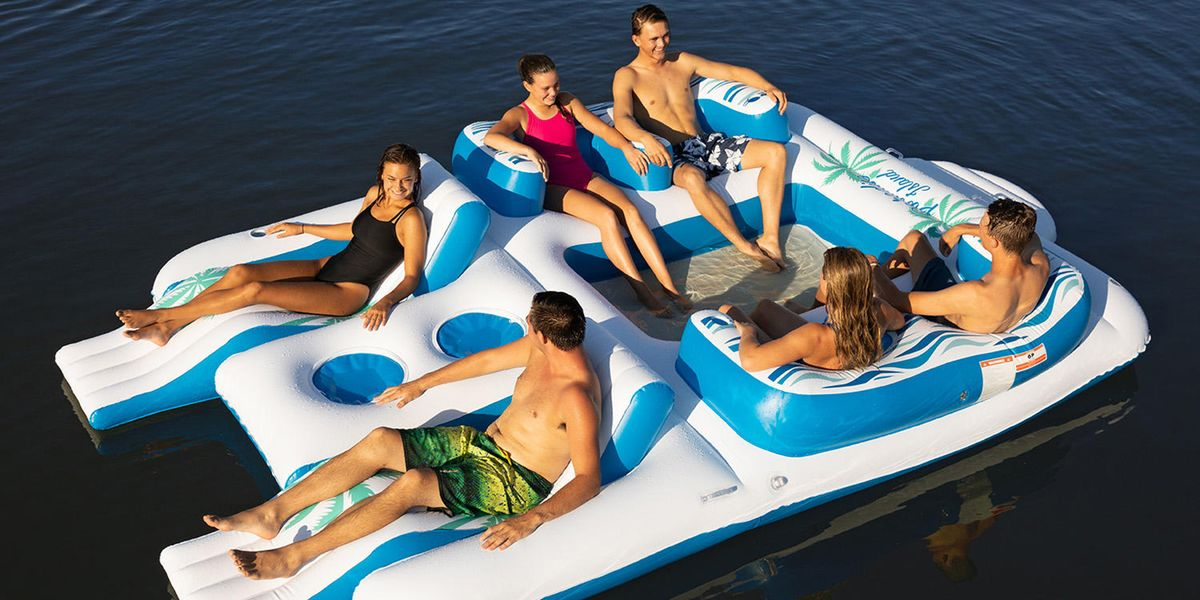 This Giant Floating Island Has Enough Room For All Your Friends — And Coolers For All Your Drinks