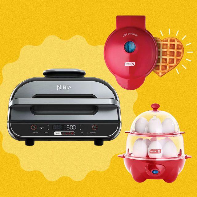 ninja indoor grill, deluxe 12 egg cooker, and heart mini waffle maker